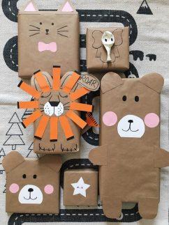 comment-emballer-ses-cadeaux-idée-d-emballage-enfant-cadeaux-en-forme-d-animaux-avec-dessin-de-visages-mignons